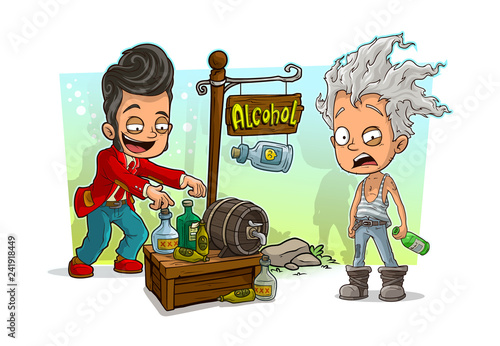 Cartoon dancer and crazy old man with alcohol shop - 241918449