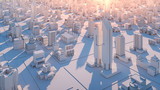Bird view shot of city streets on sunset. - 241920427