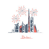 Fireworks with stars in Dubai city