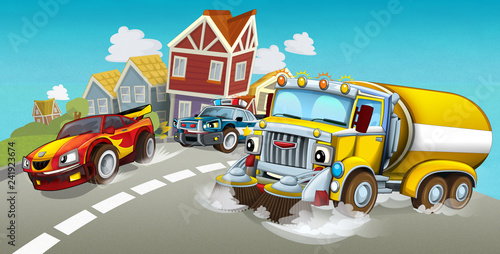 cartoon summer scene with cleaning cistern car driving through the city and police chase with sports car driving near - illustration for children - 241923674