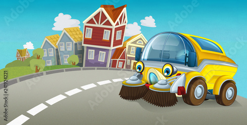 cartoon summer scene with cleaning car driving through the city - illustration for children - 241924221
