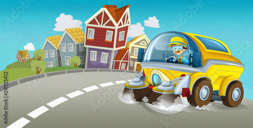 cartoon summer scene with cleaning car driving through the city - illustration for children - 241925432