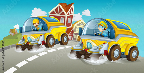 cartoon summer scene with cleaning car driving through the city - illustration for children - 241925809