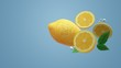 The 3d lemon object on blue for food content.. - 241931844