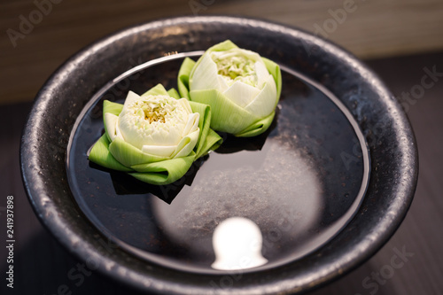 Twin White lotus on green leaves float on the water inside black bowl - 241937898