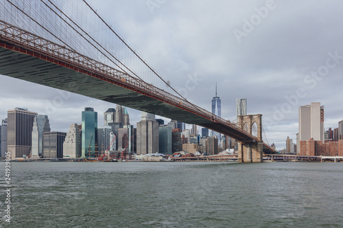 Manhattan skyline viewed from Brooklyn with Brooklyn bridge, in New York City, USA