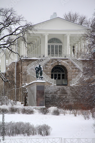 Old Russian architecture in snow in winter