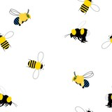 Seamless images of bumble bee on white