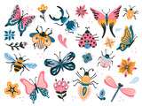 Cute bugs. Child drawing insects, flying butterflies and baby ladybird. Flower butterfly, fly insect and beetle flat vector set - 241951650