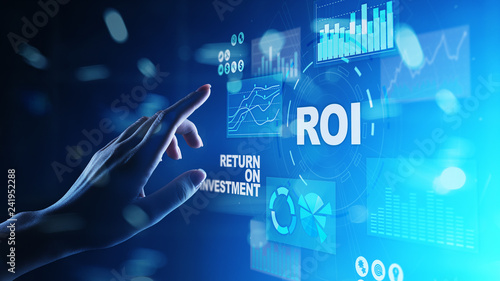 Leinwanddruck Bild ROI - Return on investment, Trading and financial growth concept on virtual screen.