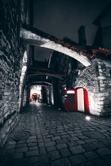 view along St. Catherine's Passage at night, opened red door, medieval city in Europe