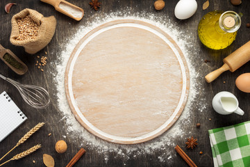 wheat flour and cutting board