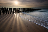 sunshine over old wooden breakwater on North sea coast - 241960626