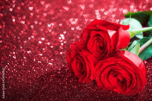 Foto Murales Red rose flowers and glitter hearts