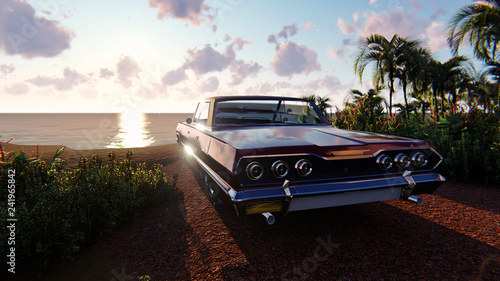 The image of the car against a sunset  3D illustration - 241965842