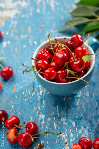 Fresh cherry in cup