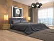 Leinwandbild Motiv Bedroom interior. 3d illustration