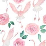 Flamingo dancing ballet. Hand drawn illustration. Watercolor abstract seamless pattern - 241972452
