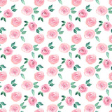 Watercolor seamless pattern with roses. Hand drawn illustration