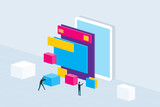 isometric flat mobile application development and design process concept