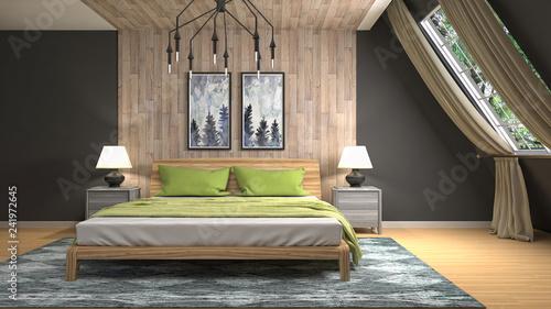 Bedroom interior. 3d illustration - 241972645