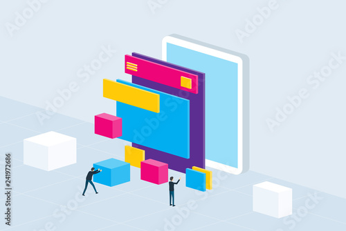 isometric flat mobile application development and design process concept © apinan