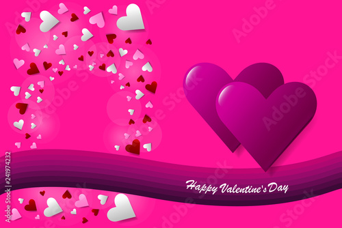 Trendy pink vector on love theme showing two pink hearts in the right side of the vector. Many small hearts with a free place for your text are in the left side. The purple wave is under them.