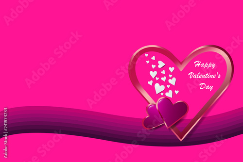 Simple pink vector on love theme showing one metal frame heart on the purple wave in the right side of the vector. Free place for your text is on the left side of the vector.