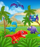 Fototapeta Dinusie - A dinosaur cartoon cute animal background prehistoric landscape scene. © Christos Georghiou