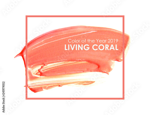 brush and paint texture on paper living coral. Color of the year 2019. livingcoral - Image