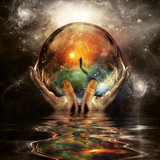 Fototapeta Fototapeta z niebem - Crystal ball in hands of God © rolffimages