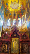 "Постер, картина, фотообои ""Fragment of interior of The Church of the Savior on Spilled Blood (Cathedral of the Resurrection of Christ) The church contains over 7500 square meters of mosaics"""