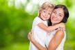 Leinwanddruck Bild - Happy mother and child girl