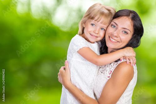 Leinwanddruck Bild Happy mother and child girl