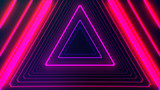 Fototapeta Fototapety do przedpokoju - Futuristic HUD pink purple triangle tunnel VJ. 4K Neon motion graphics for LED TV, music, show, concerts. Bright retro cosmic night club 3D illustration with data flow concept for speed and connection © Eduard Muzhevskyi