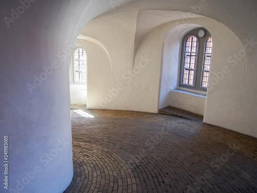 Inside view of the spiral ramp of Rundetaarn (Round Tower), Copenhagen, Denmark