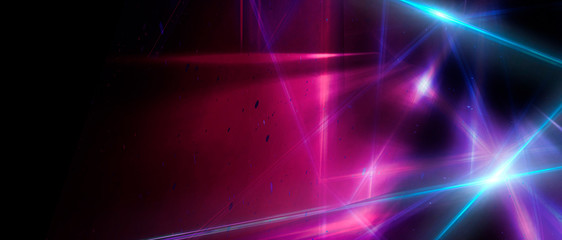 Abstract blue background with neon rays, flashes of light, faces, lines. Cosmic abstract background of the substrate.