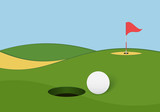 Golf background. Golf course with hole, ball and flag.
