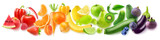 Isolated fruits in a line. Rainbow made of fresh fruits and vegetables isolated on white background with clipping path