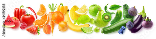 Isolated fruits in a line. Rainbow made of fresh fruits and vegetables isolated on white background with clipping path - 241992875