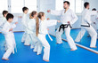 Leinwanddruck Bild - Children trying martial moves in karate class