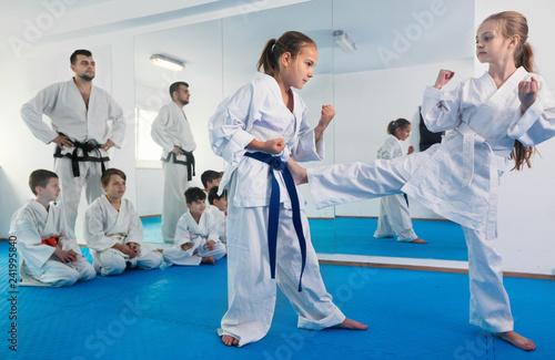 Leinwanddruck Bild Pair of little girls practicing new karate moves during class