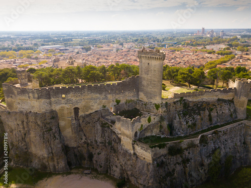 Aerial view of Chateau de Beaucaire, France