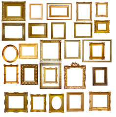 Set of many gold picture frames © JackF