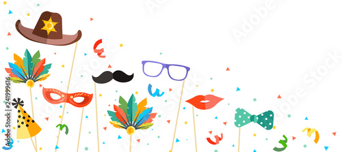 colorful carnival background in photo booth style