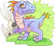 Cartoon cute prehistoric dinosaur velociraptor, funny illustration - 242001006