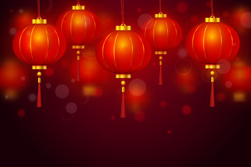 Vector Chinese red traditional hanging paper glowing lanterns on dark background. Happy Chinese New Year realistic decoration holiday banner © Oksana Kumer