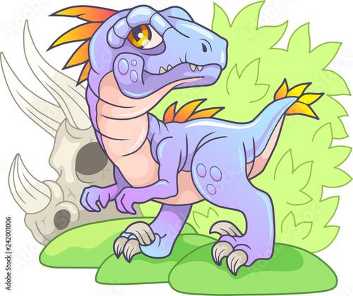 Cartoon cute prehistoric dinosaur velociraptor, funny illustration - 242001006