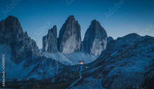 Tre Cime di Lavaredo mountain peaks in the Dolomites at night, South Tyrol, Italy