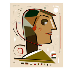 Abstract beige background ,fancy geometric profile of a man , expressionism art style